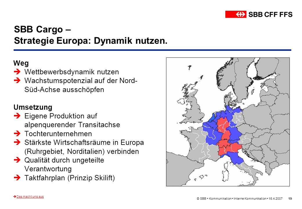 SBB Cargo – Strategie Europa: Dynamik nutzen.