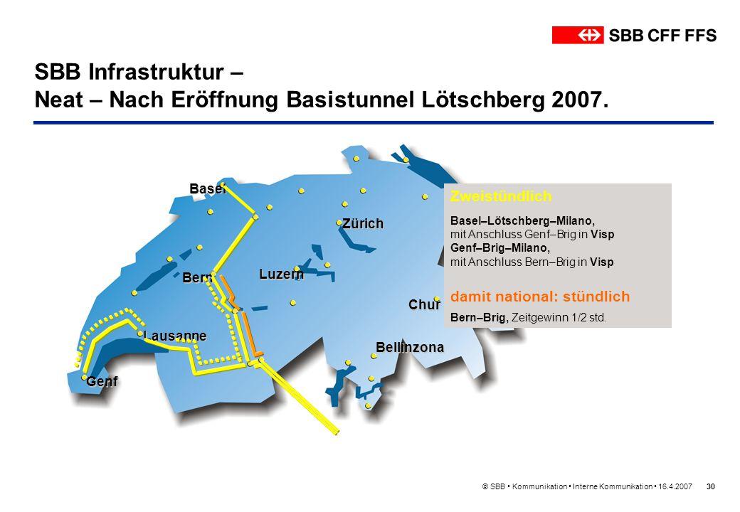 SBB Infrastruktur – Neat – Nach Eröffnung Basistunnel Lötschberg 2007.