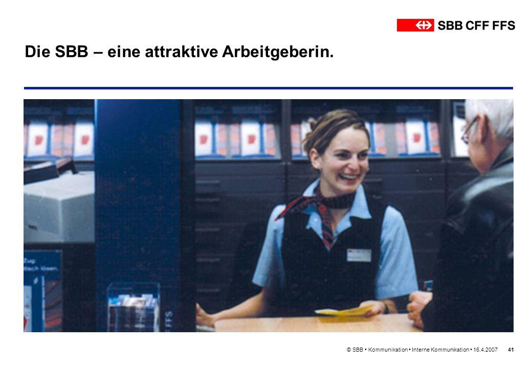 Die SBB – eine attraktive Arbeitgeberin.