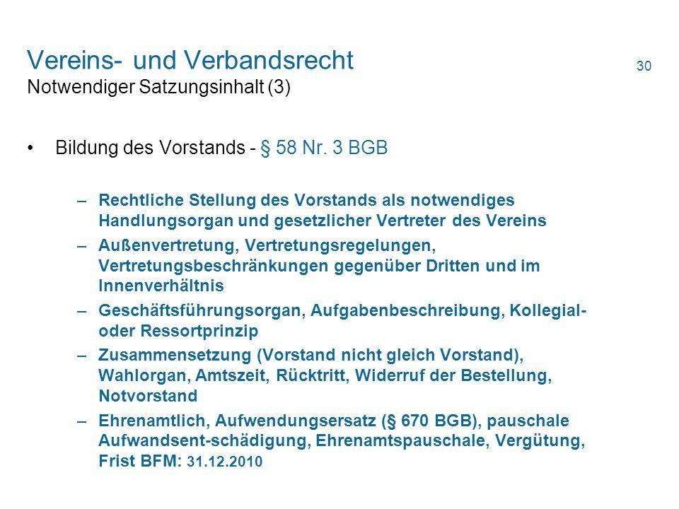 Vereins- und Verbandsrecht Notwendiger Satzungsinhalt (3)