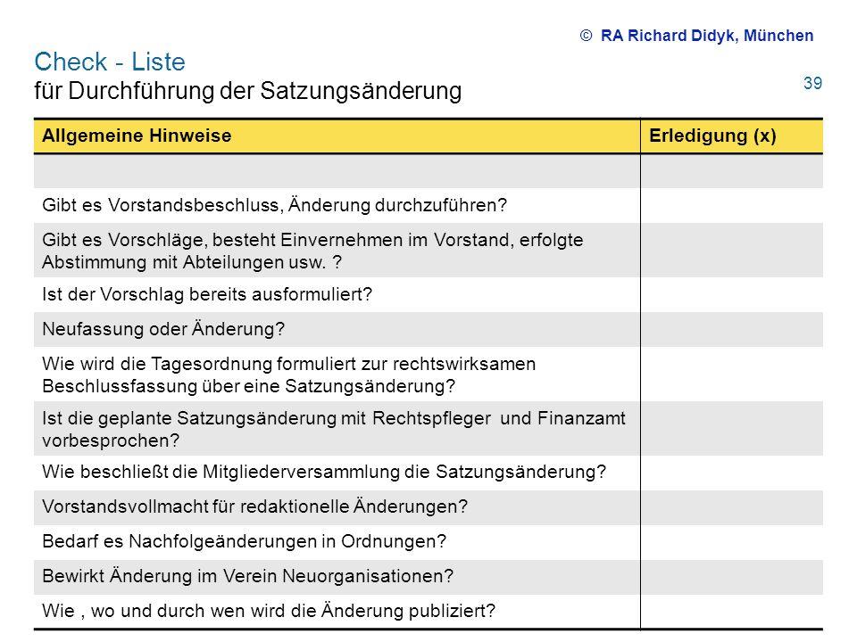 Check - Liste für Durchführung der Satzungsänderung