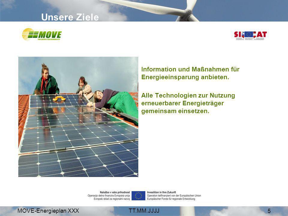 Unsere Ziele Information und Maßnahmen für Energieeinsparung anbieten.