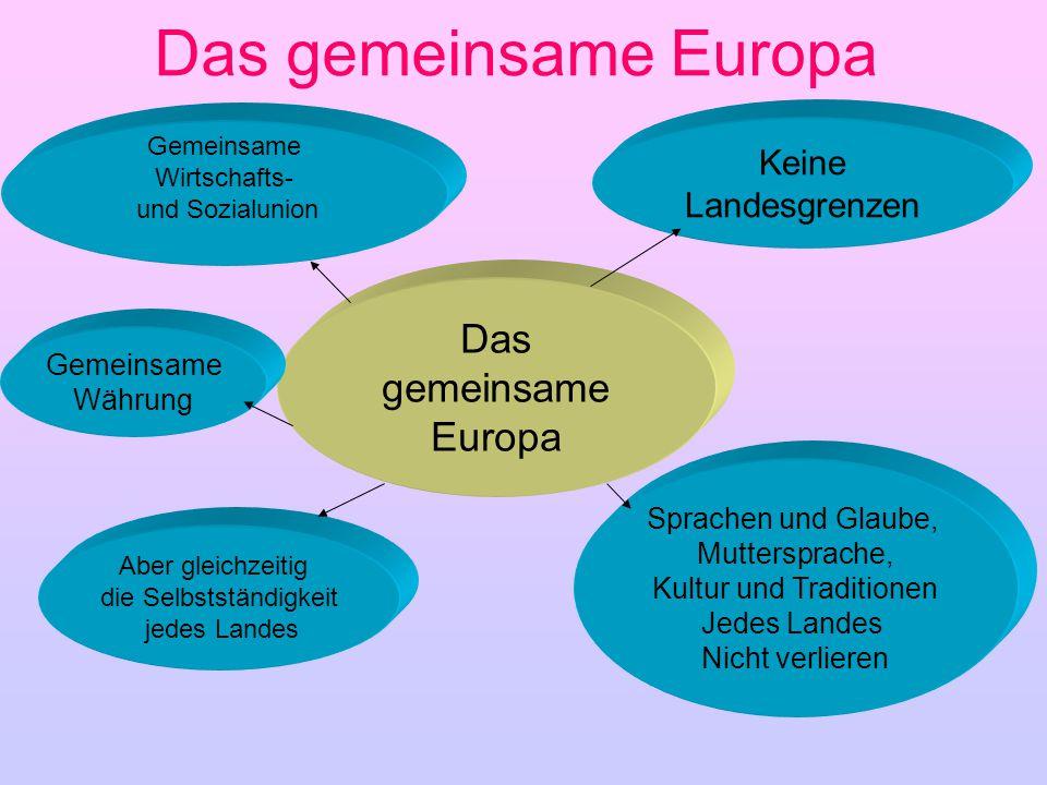 Das gemeinsame Europa Das gemeinsame Europa Keine Landesgrenzen