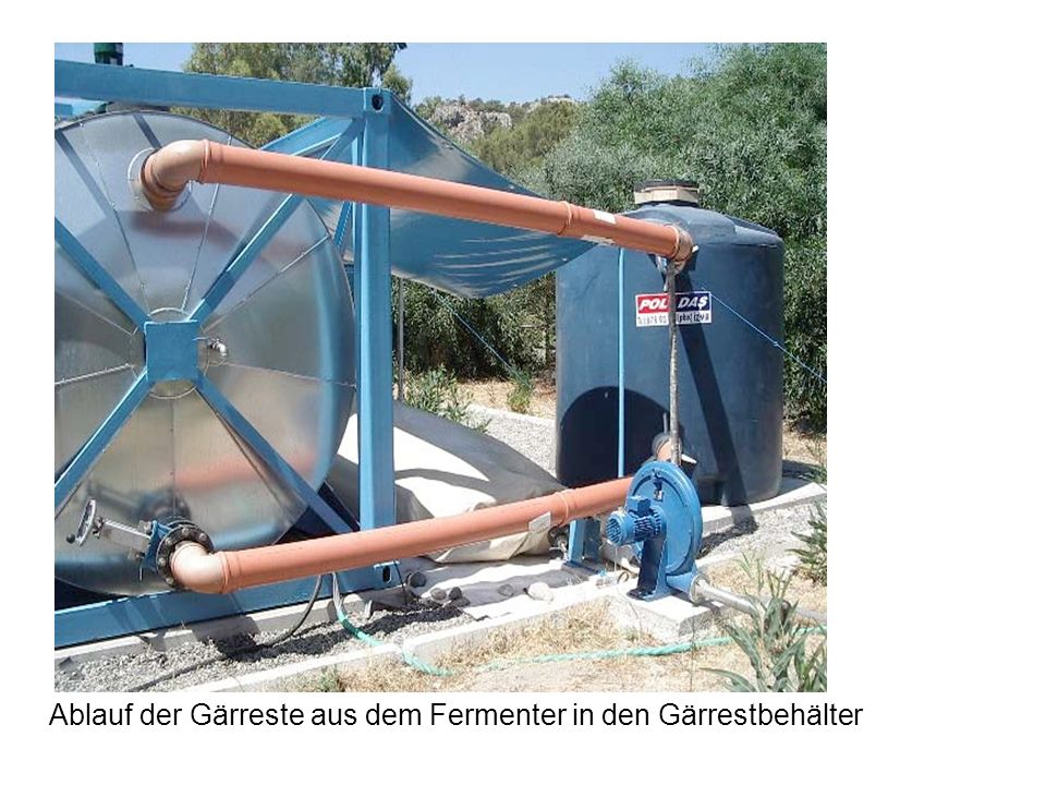 Ablauf der Gärreste aus dem Fermenter in den Gärrestbehälter