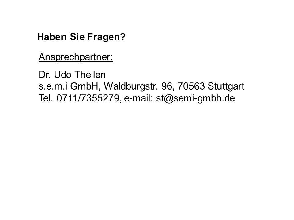 Haben Sie Fragen. Ansprechpartner: Dr. Udo Theilen s.e.m.i GmbH, Waldburgstr.