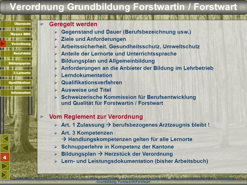 Verordnung Grundbildung Forstwartin / Forstwart