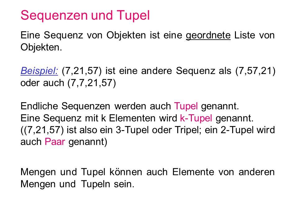 Sequenzen und Tupel Eine Sequenz von Objekten ist eine geordnete Liste von Objekten.
