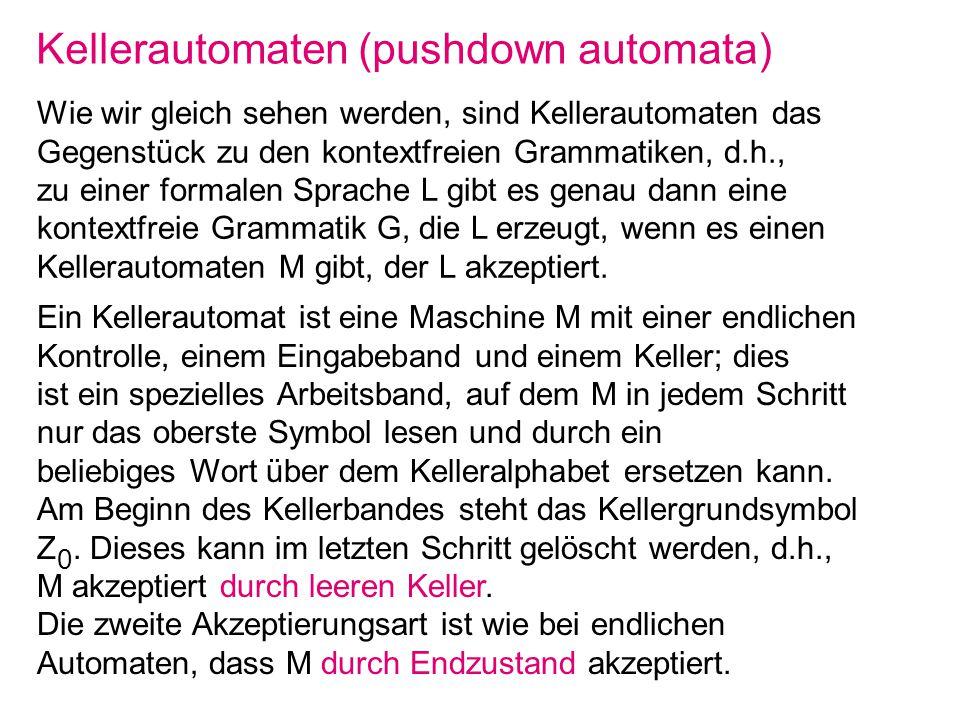 Kellerautomaten (pushdown automata)