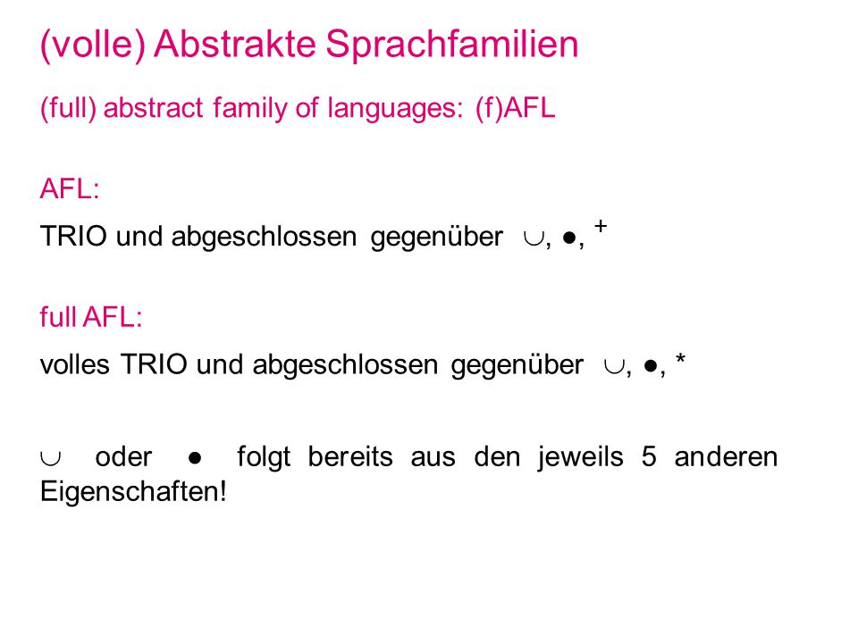 (volle) Abstrakte Sprachfamilien