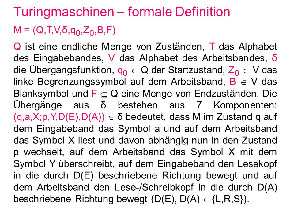 Turingmaschinen – formale Definition