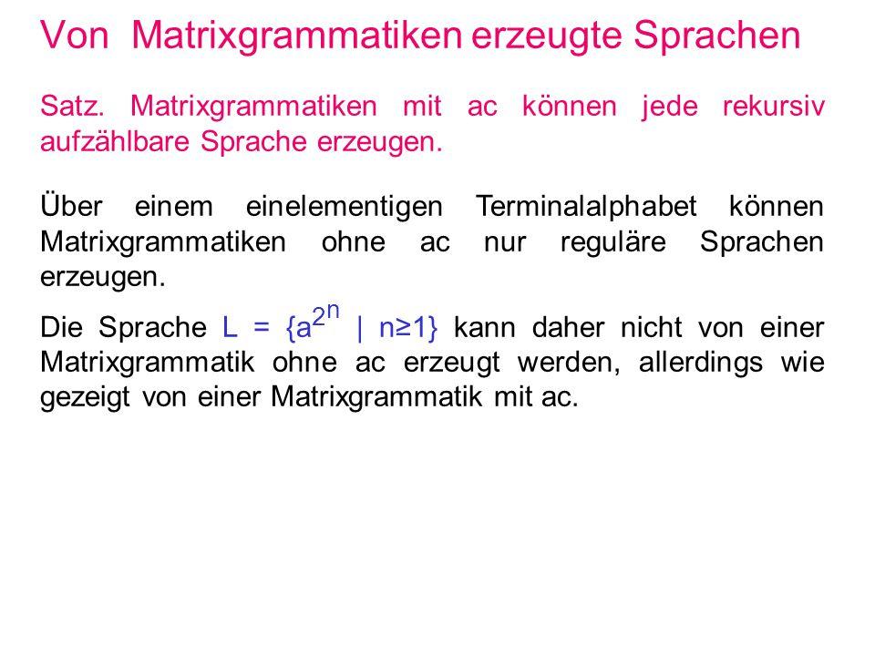 Von Matrixgrammatiken erzeugte Sprachen