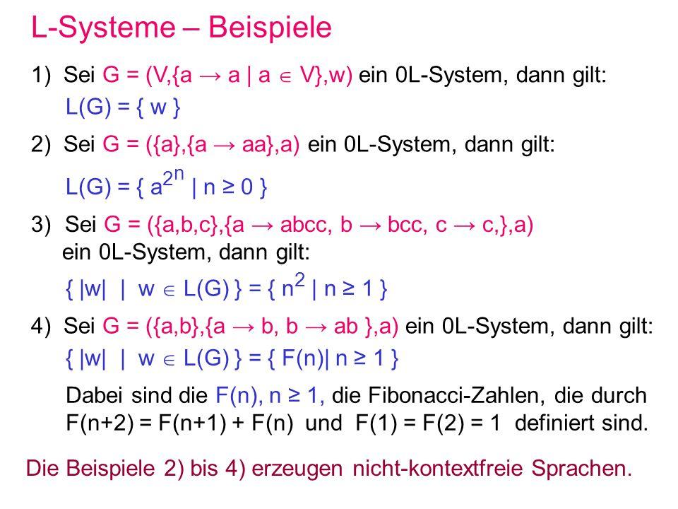 L-Systeme – Beispiele 1) Sei G = (V,{a → a | a  V},w) ein 0L-System, dann gilt: L(G) = { w }