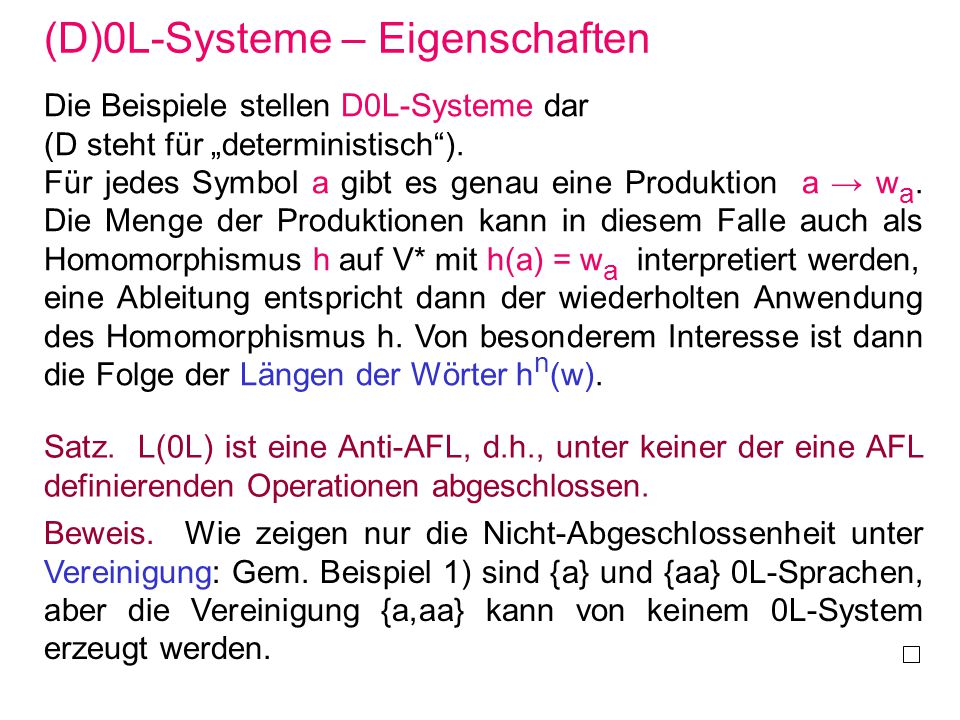 (D)0L-Systeme – Eigenschaften