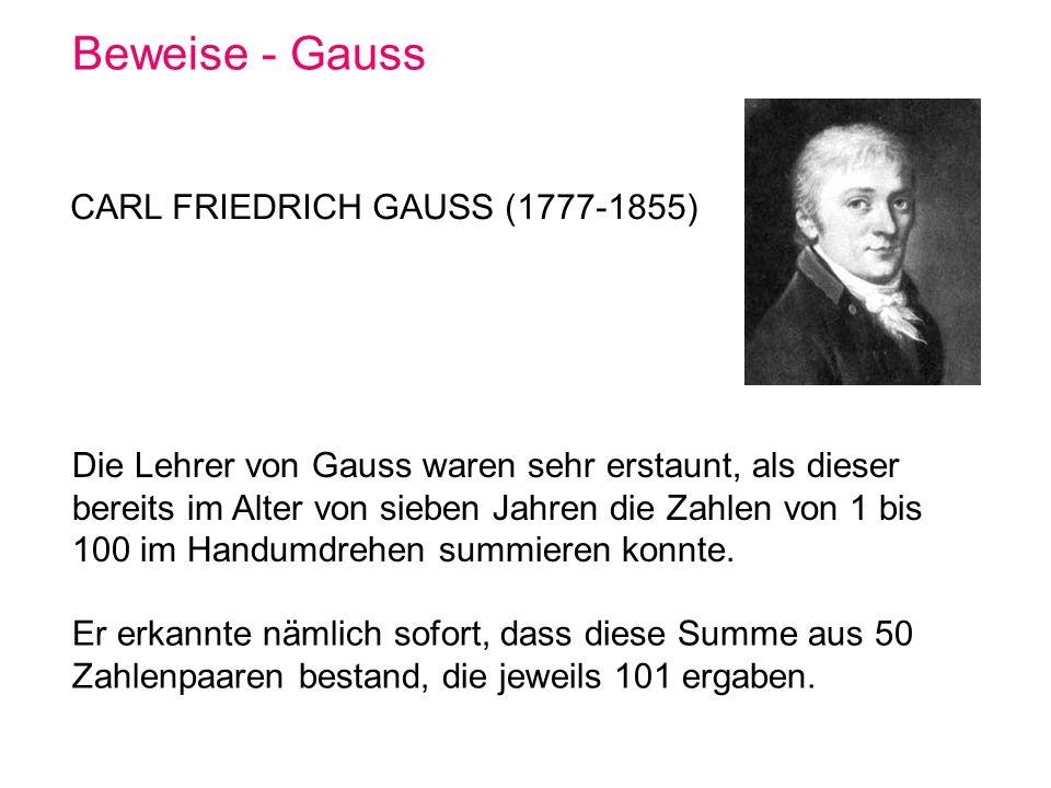 Beweise - Gauss CARL FRIEDRICH GAUSS (1777-1855)