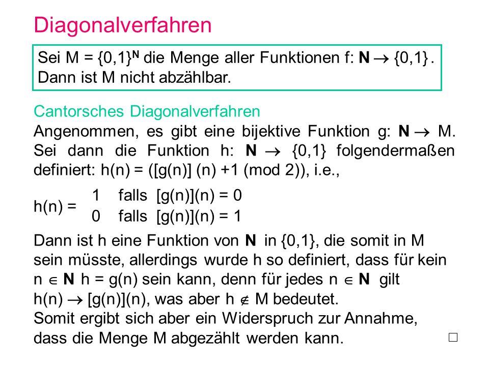 Diagonalverfahren Sei M = {0,1}N die Menge aller Funktionen f: N  {0,1} . Dann ist M nicht abzählbar.
