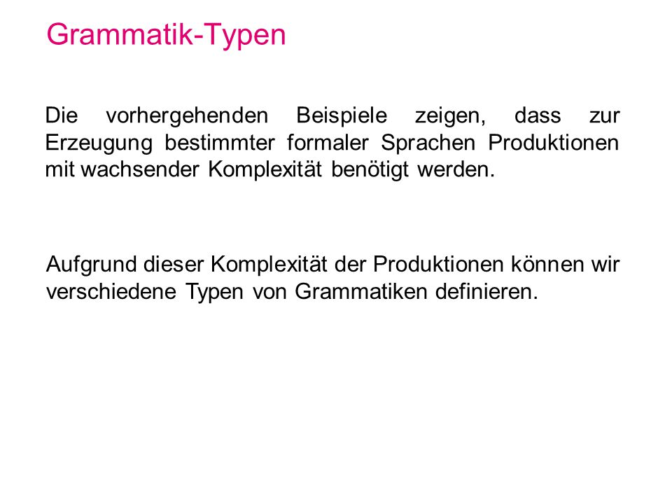 Grammatik-Typen