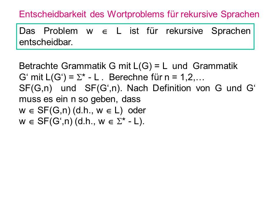 Entscheidbarkeit des Wortproblems für rekursive Sprachen