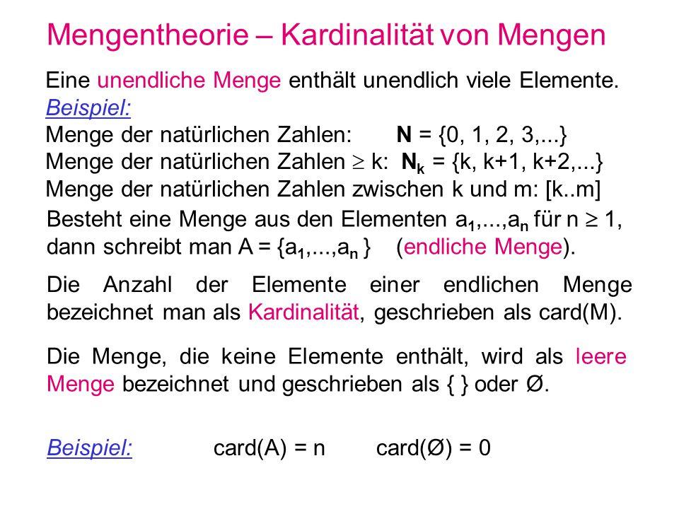 Mengentheorie – Kardinalität von Mengen