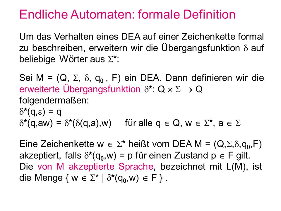 Endliche Automaten: formale Definition