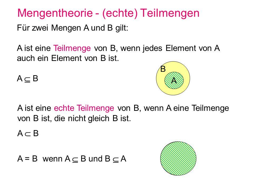 Mengentheorie - (echte) Teilmengen