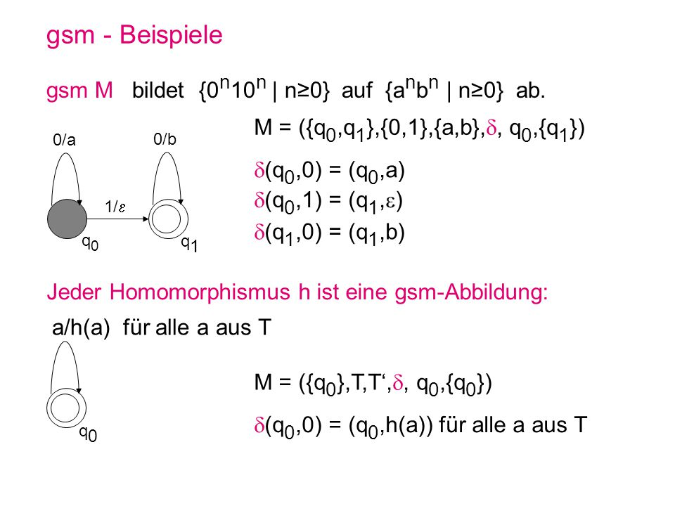 gsm - Beispiele gsm M bildet {0n10n | n≥0} auf {anbn | n≥0} ab.