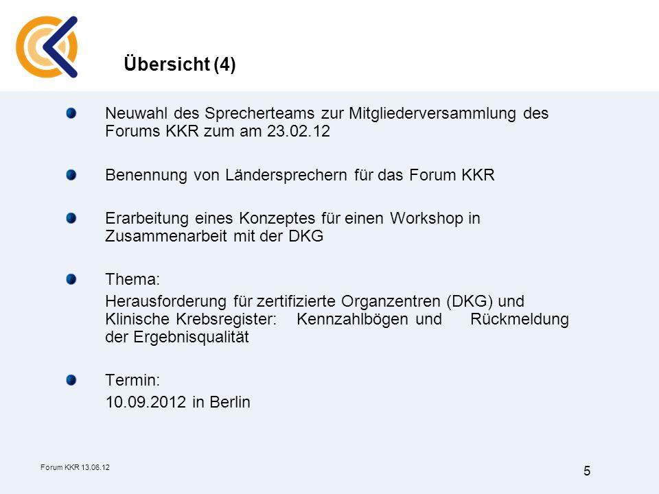 Übersicht (4) Neuwahl des Sprecherteams zur Mitgliederversammlung des Forums KKR zum am 23.02.12. Benennung von Ländersprechern für das Forum KKR.