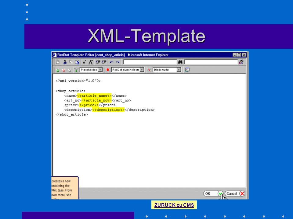XML-Template Quellcode eines XML-Templates mit Platzhaltern