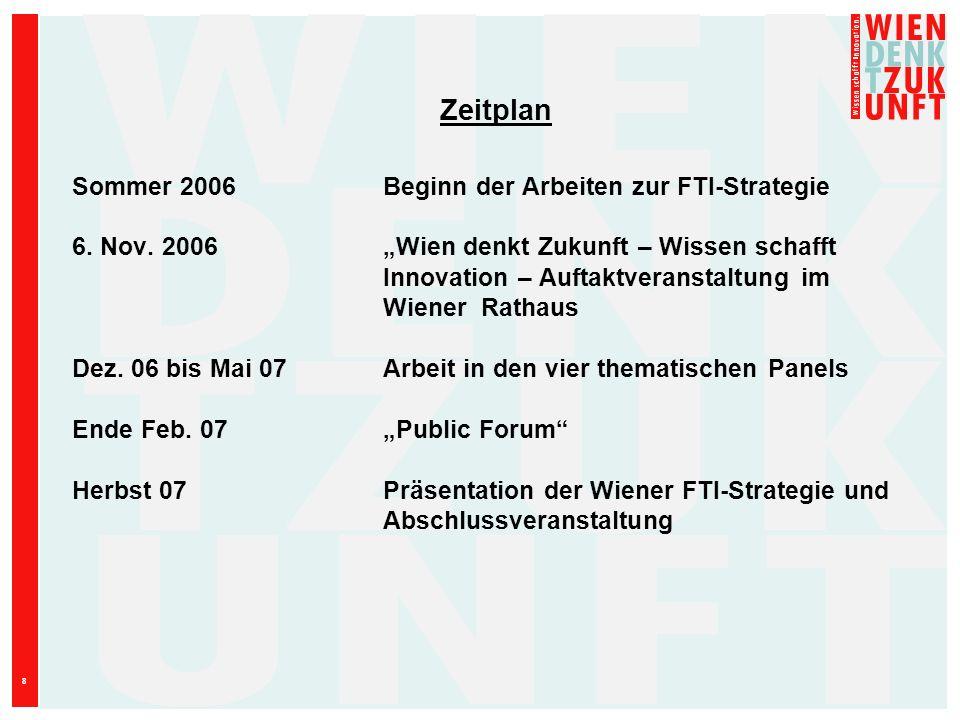 Zeitplan Sommer 2006 Beginn der Arbeiten zur FTI-Strategie