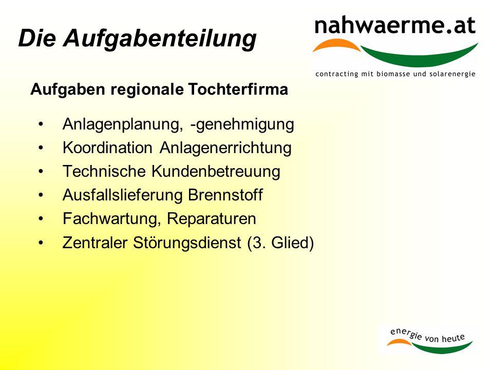 Aufgaben regionale Tochterfirma
