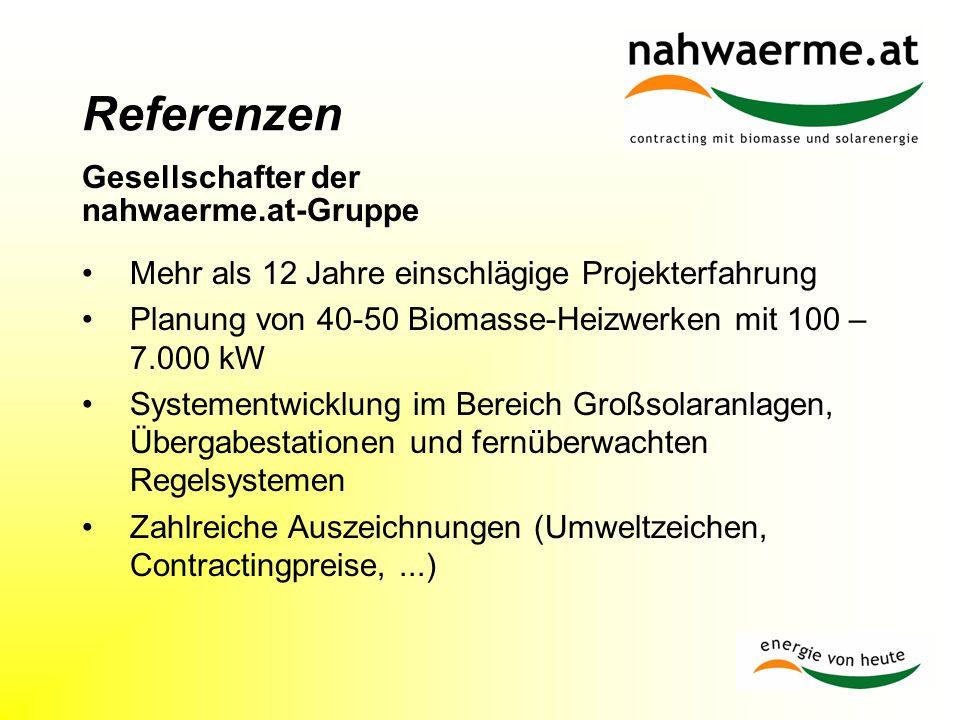 Referenzen Gesellschafter der nahwaerme.at-Gruppe