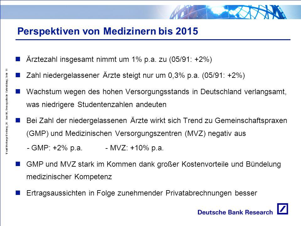 Perspektiven von Medizinern bis 2015