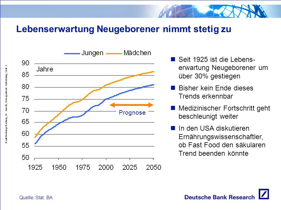 Lebenserwartung Neugeborener nimmt stetig zu