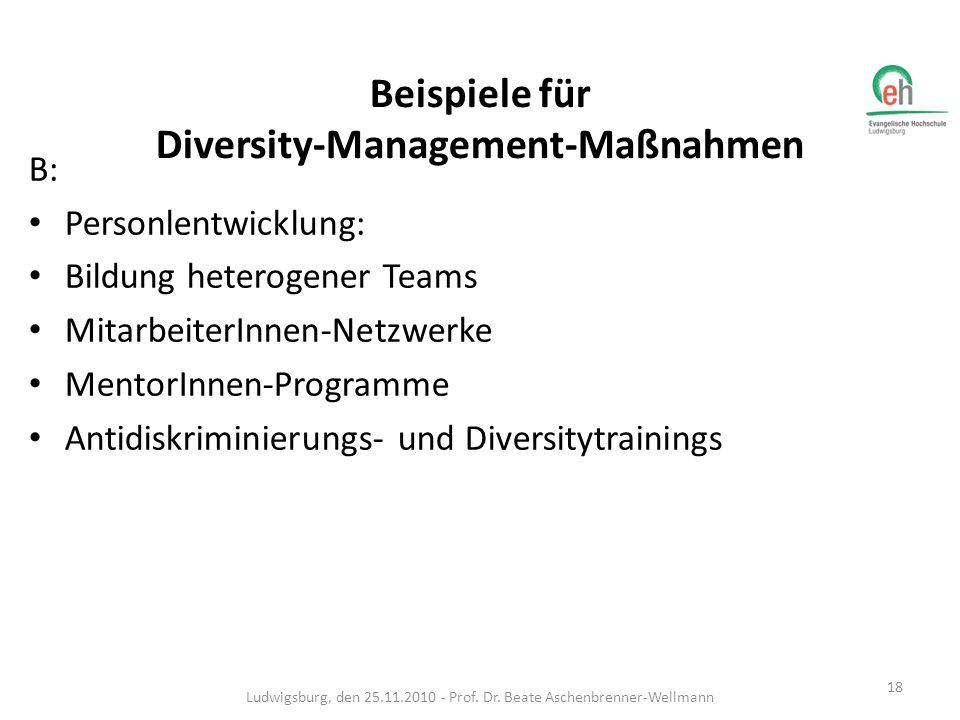Beispiele für Diversity-Management-Maßnahmen