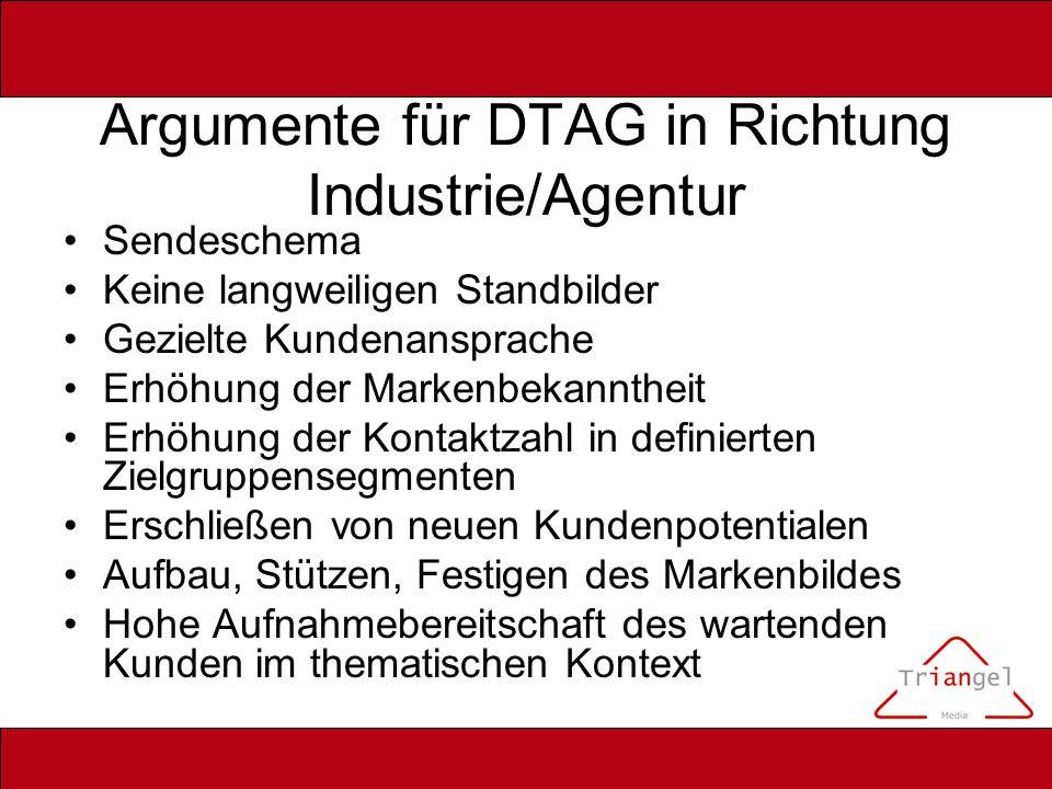 Argumente für DTAG in Richtung Industrie/Agentur