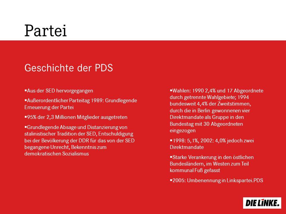 Partei Geschichte der PDS Aus der SED hervorgegangen