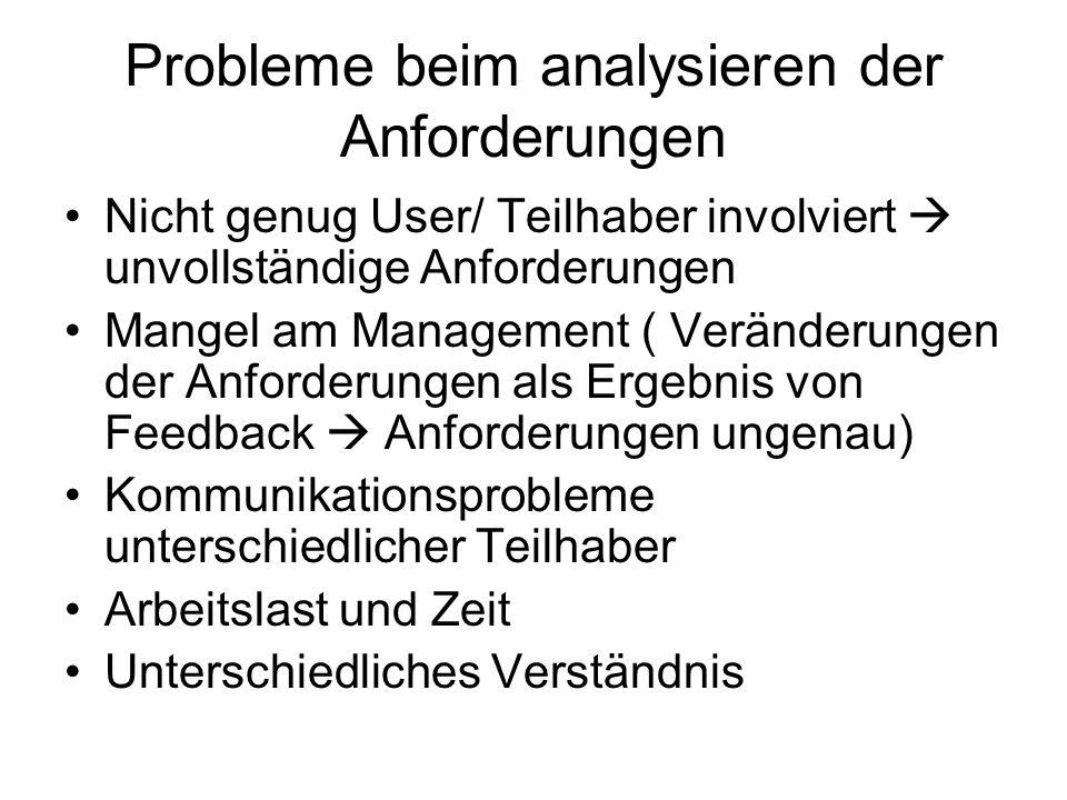 Probleme beim analysieren der Anforderungen