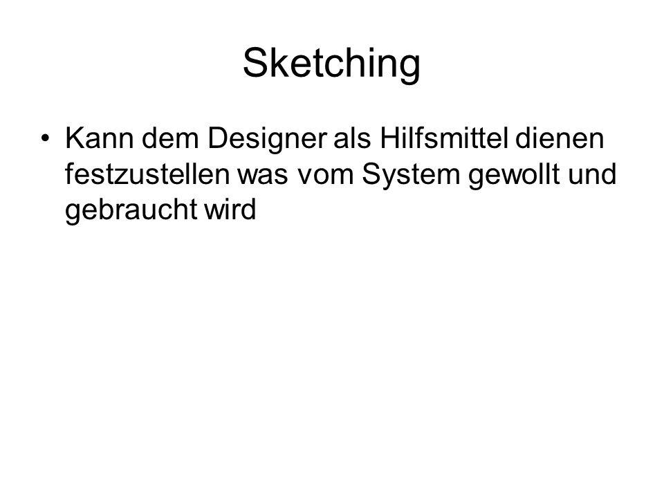Sketching Kann dem Designer als Hilfsmittel dienen festzustellen was vom System gewollt und gebraucht wird.