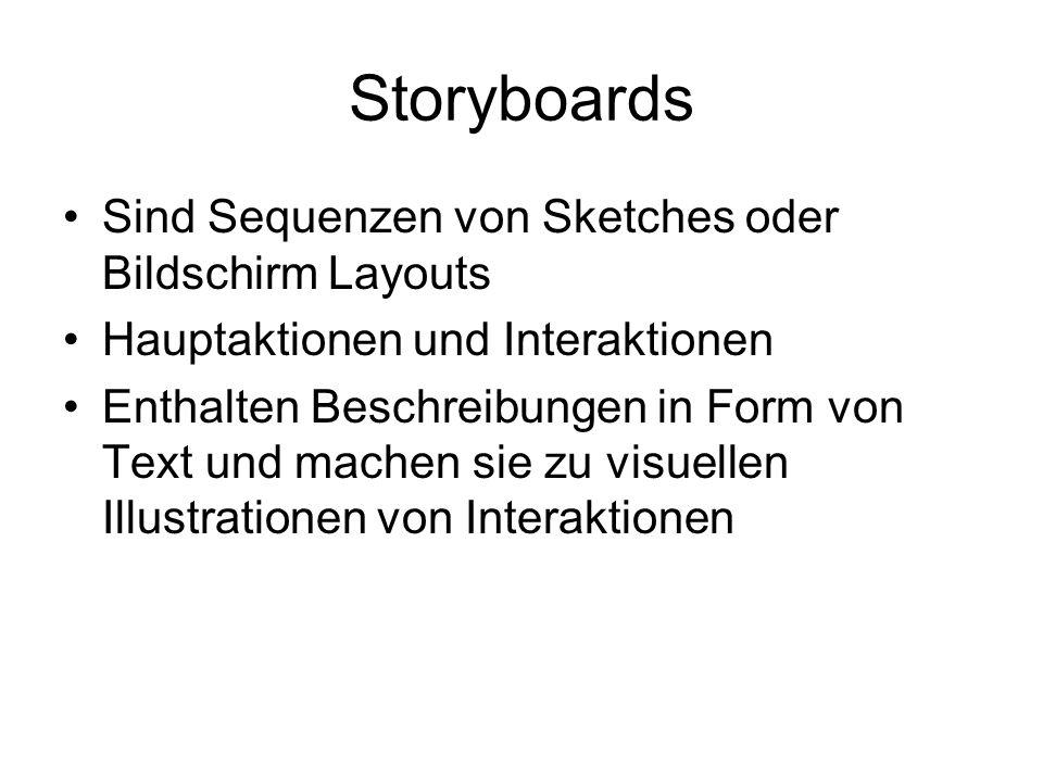 Storyboards Sind Sequenzen von Sketches oder Bildschirm Layouts