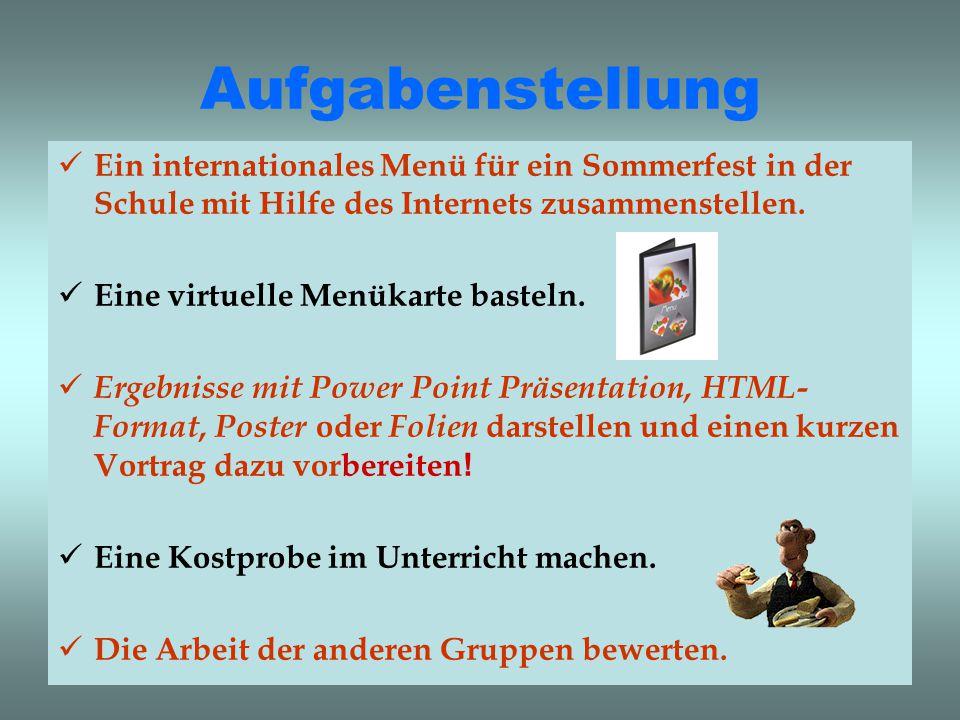 Aufgabenstellung Ein internationales Menü für ein Sommerfest in der Schule mit Hilfe des Internets zusammenstellen.
