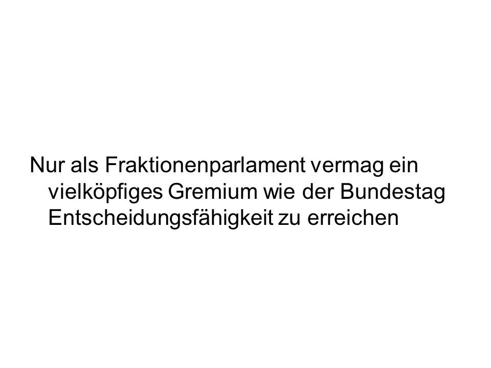 Nur als Fraktionenparlament vermag ein vielköpfiges Gremium wie der Bundestag Entscheidungsfähigkeit zu erreichen