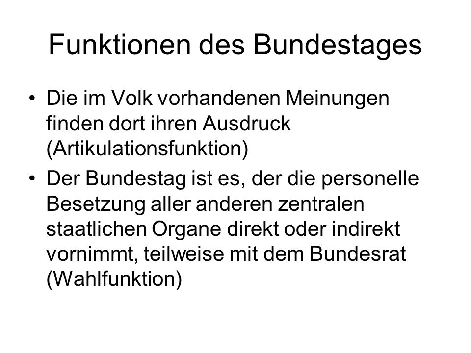 Funktionen des Bundestages
