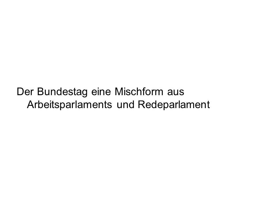 Der Bundestag eine Mischform aus Arbeitsparlaments und Redeparlament