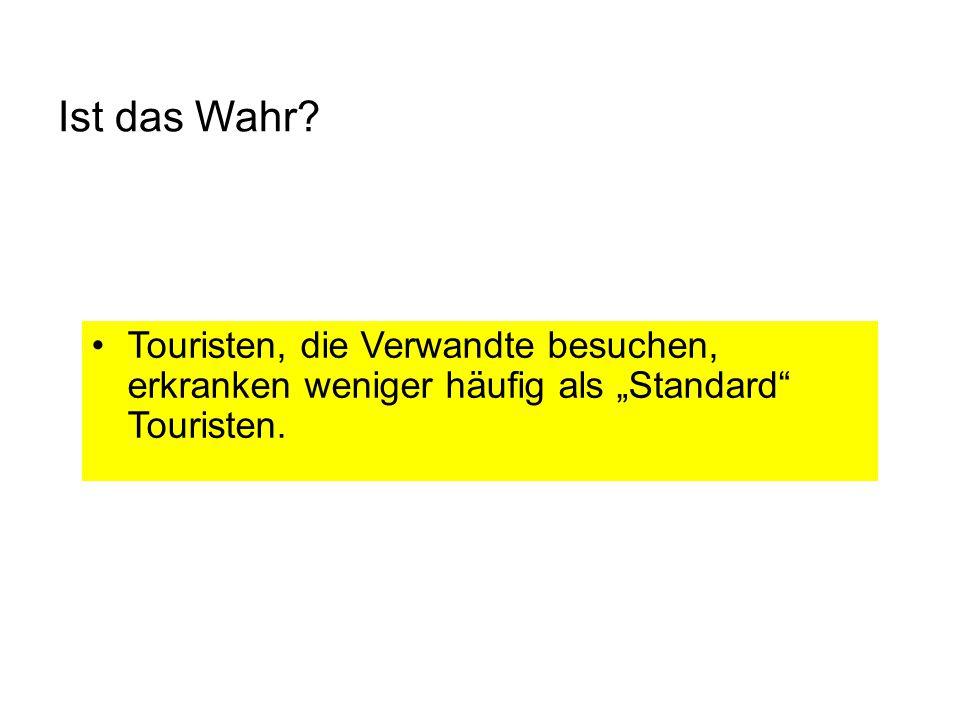 """Ist das Wahr Touristen, die Verwandte besuchen, erkranken weniger häufig als """"Standard Touristen."""