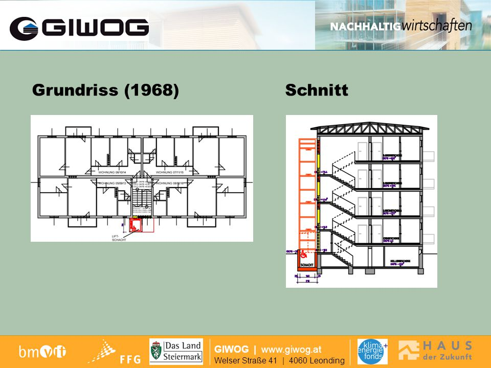 Ausgangslage Grundriss (1968) Schnitt GIWOG | www.giwog.at