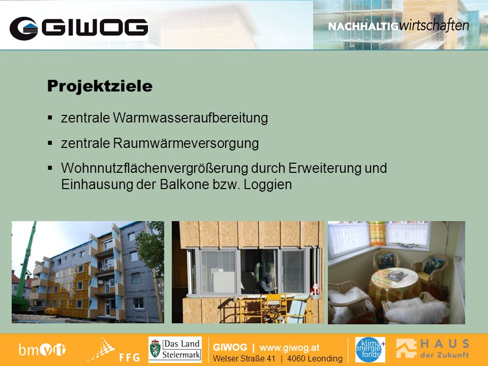 Ausgangslage Projektziele zentrale Warmwasseraufbereitung