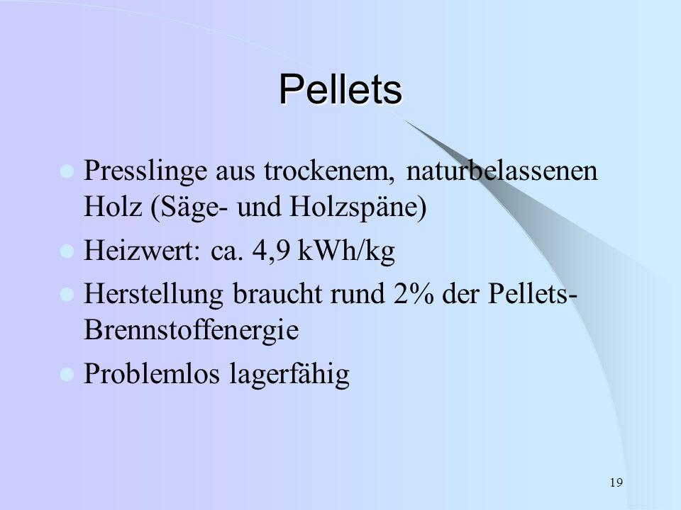 Pellets Presslinge aus trockenem, naturbelassenen Holz (Säge- und Holzspäne) Heizwert: ca. 4,9 kWh/kg.