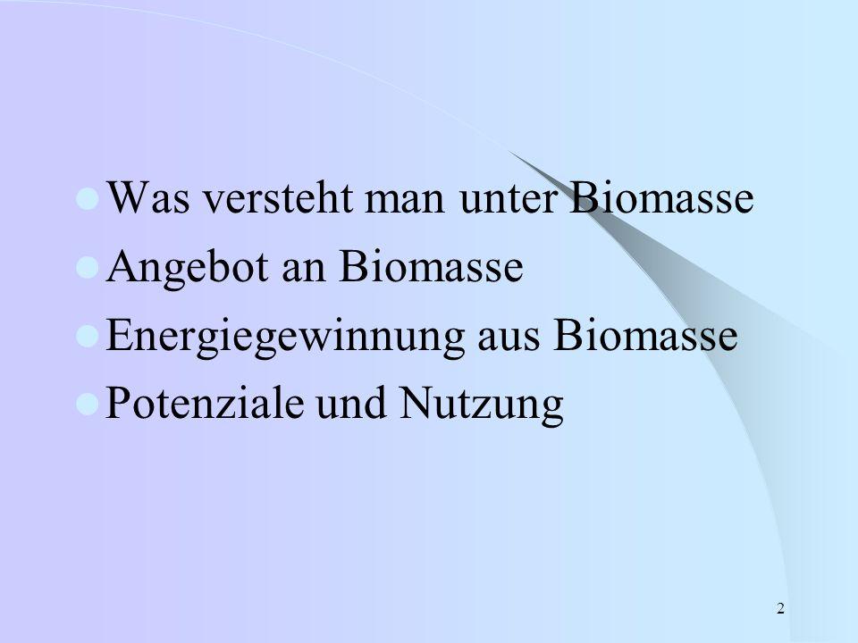 Was versteht man unter Biomasse
