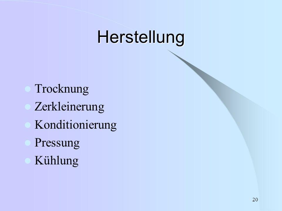 Herstellung Trocknung Zerkleinerung Konditionierung Pressung Kühlung