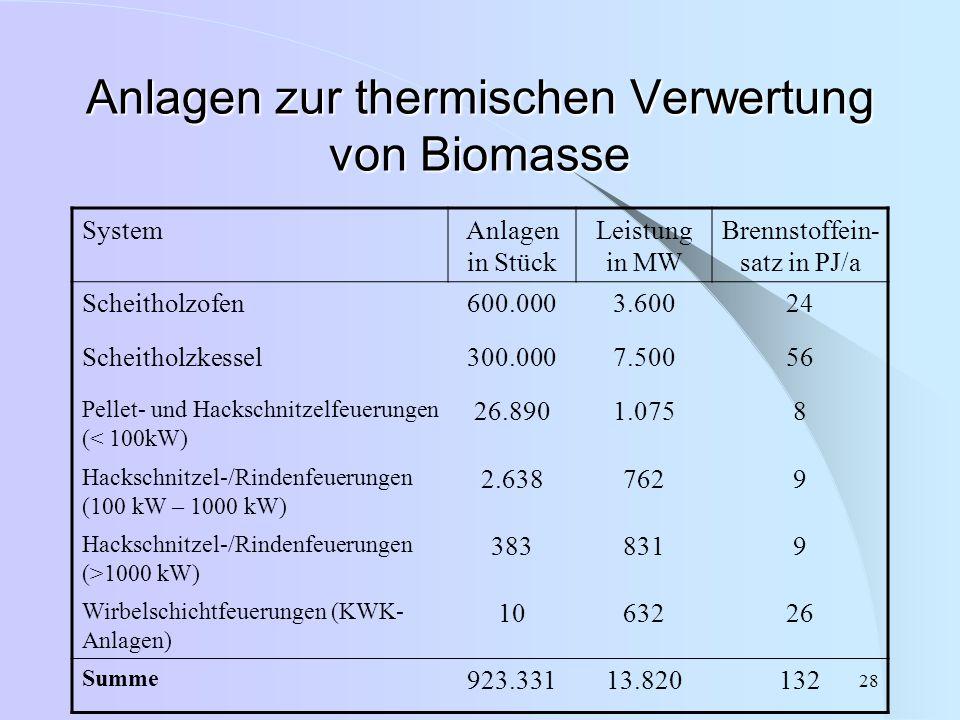 Anlagen zur thermischen Verwertung von Biomasse