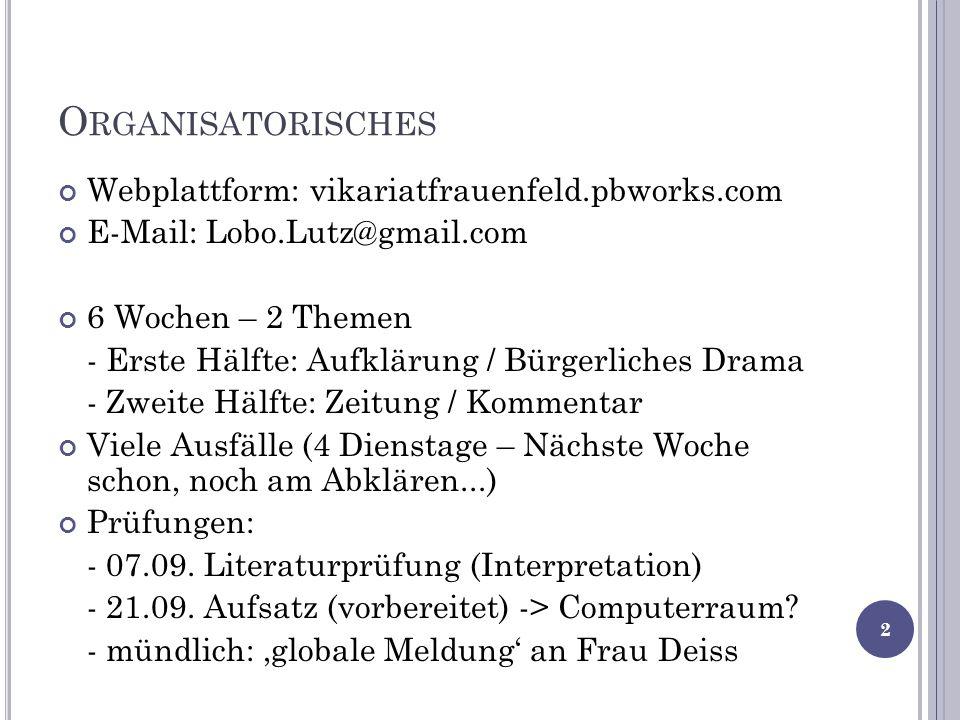 Organisatorisches Webplattform: vikariatfrauenfeld.pbworks.com